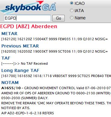 Sample METAR/TAF/NOTAM